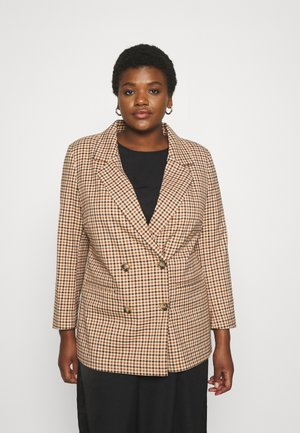 CARDITA CHECK - Short coat - semolina/tortoise shell