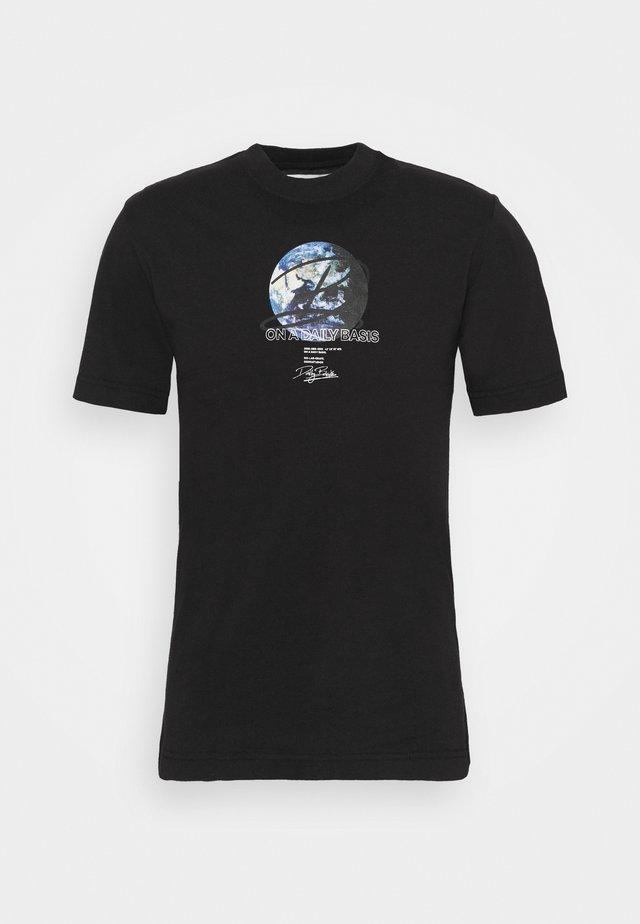 GLOBE TEE UNISEX - T-shirt imprimé - black