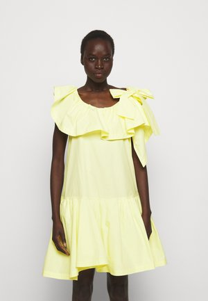 RUFFLED NECKLINE TENT DRESS - Cocktail dress / Party dress - pale yellow