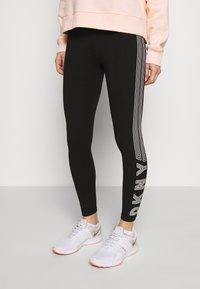 DKNY - HIGH WAIST TRACK LOGO - Collants - black/white - 0