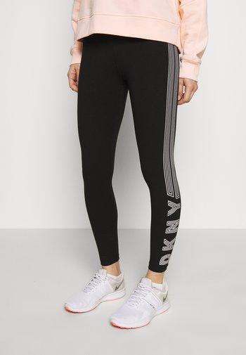 HIGH WAIST TRACK LOGO - Leggings - black/white