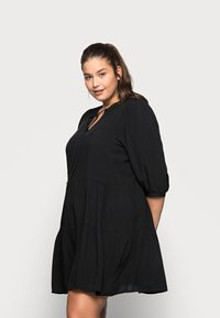 ONLY Carmakoma - CARNEWMARRAKESH 3/4 TUNIC DRESS - Day dress - black - 0