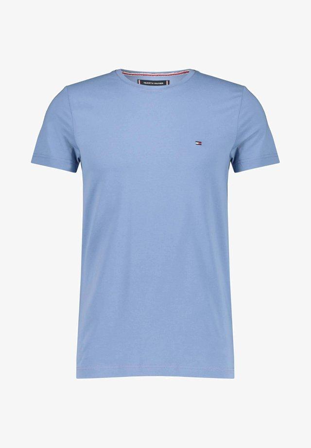 STRETCH SLIM FIT TEE - Print T-shirt - stoned blue
