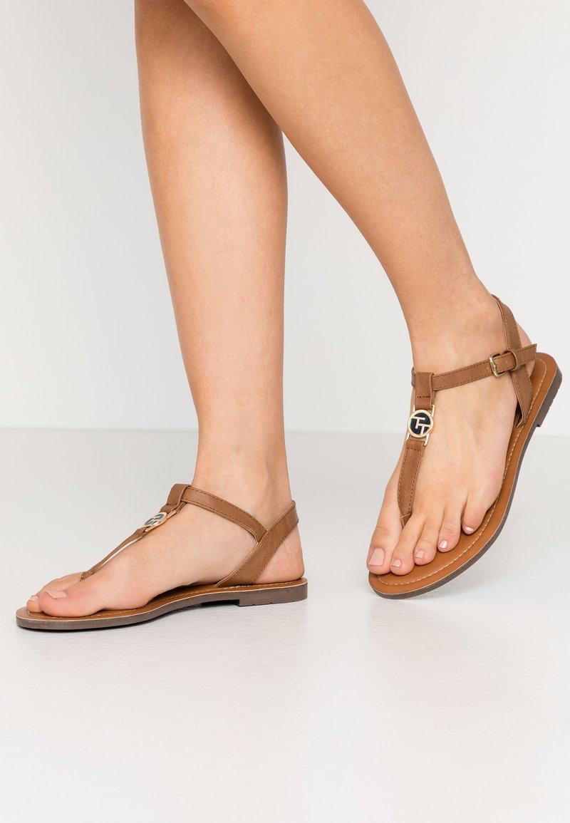 TOM TAILOR - T-bar sandals - cognac