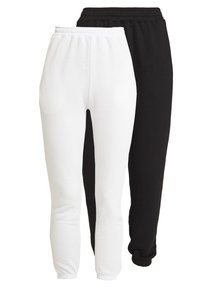 Missguided - BASIC JOGGERS 2 PACK - Pantalones deportivos - white/black - 0