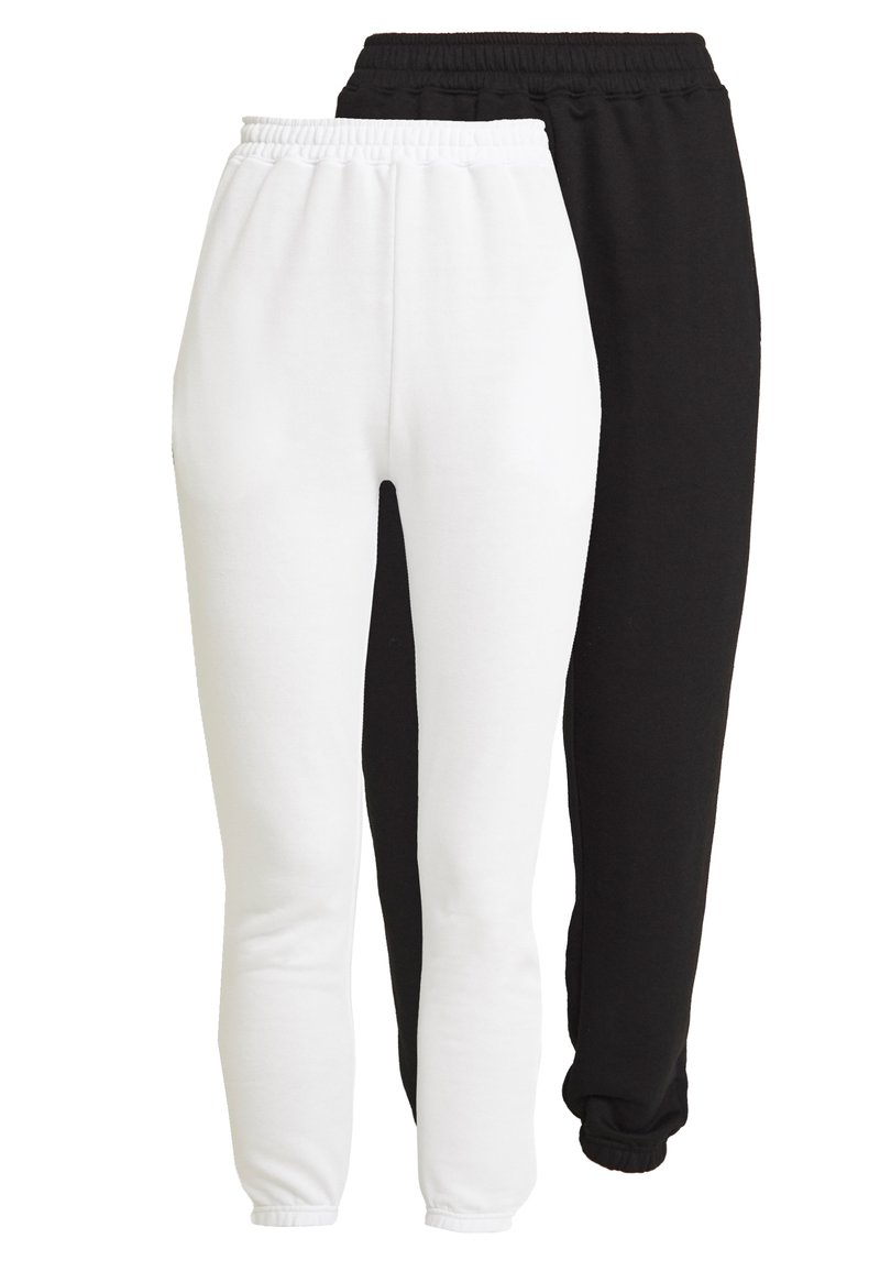 Missguided - BASIC JOGGERS 2 PACK - Pantalones deportivos - white/black
