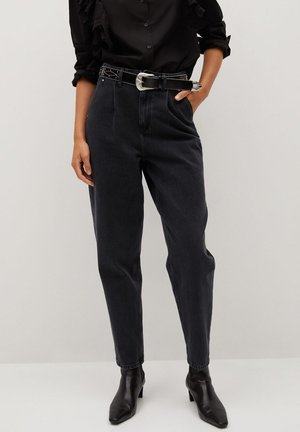 MIT BUNDFALTEN - Flared Jeans - black denim