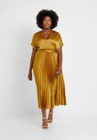 New Look Curves - GO PLEATED DRESS - Day dress - dark yellow - 1