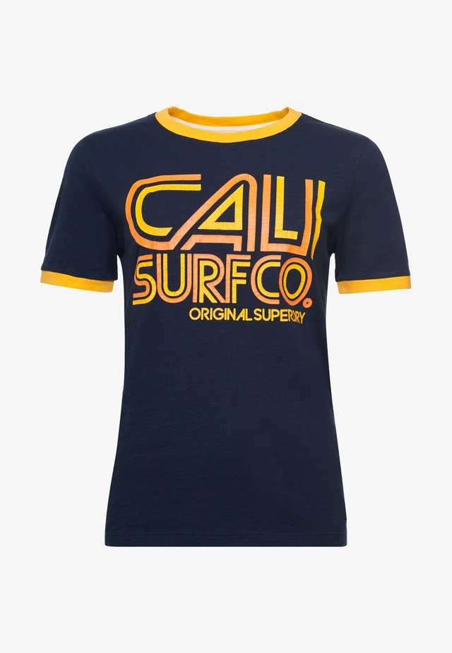 CALI SURF GRAPHIC RINGER - T-shirt con stampa - nautical navy