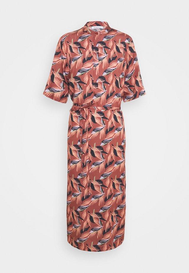 ORCHID FLORAL PRINT MID LENGHT DRESS  VEGAN - Paitamekko - marsala