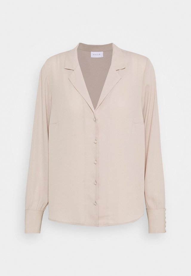 VILUCY BUTTON V NECK - Skjorta - simply taupe