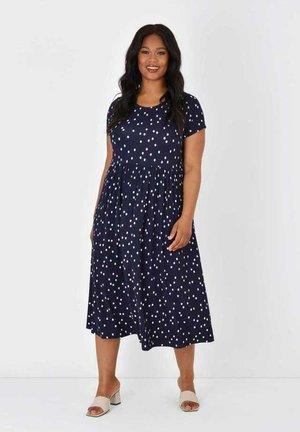 Day dress - dark blue / white