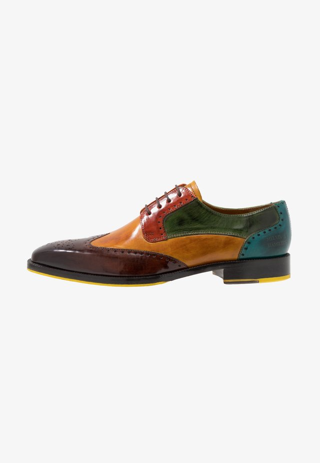 JEFF 14 - Stringate - wood/yellow/dark winter orange/ultra green/turquoise/rich tan/pop yellow