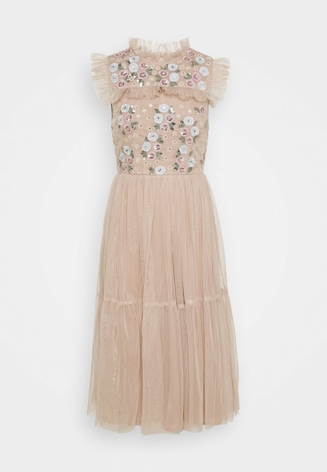 EMBROIDERED RUFFLE MIDI DRESS - Cocktail dress / Party dress - taupe blush