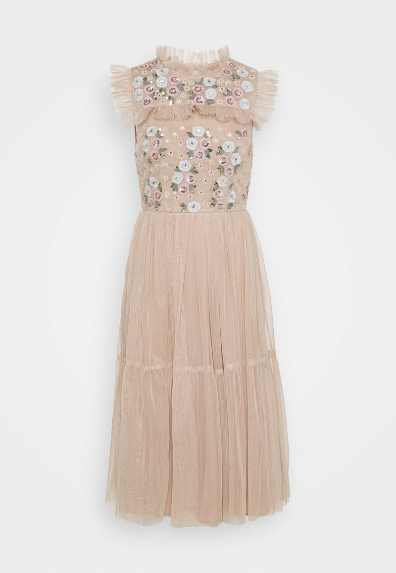 Maya Deluxe - EMBROIDERED RUFFLE MIDI DRESS - Cocktail dress / Party dress - taupe blush
