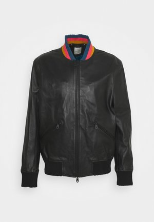 GENTS BOMBER JACKET - Kožená bunda - black
