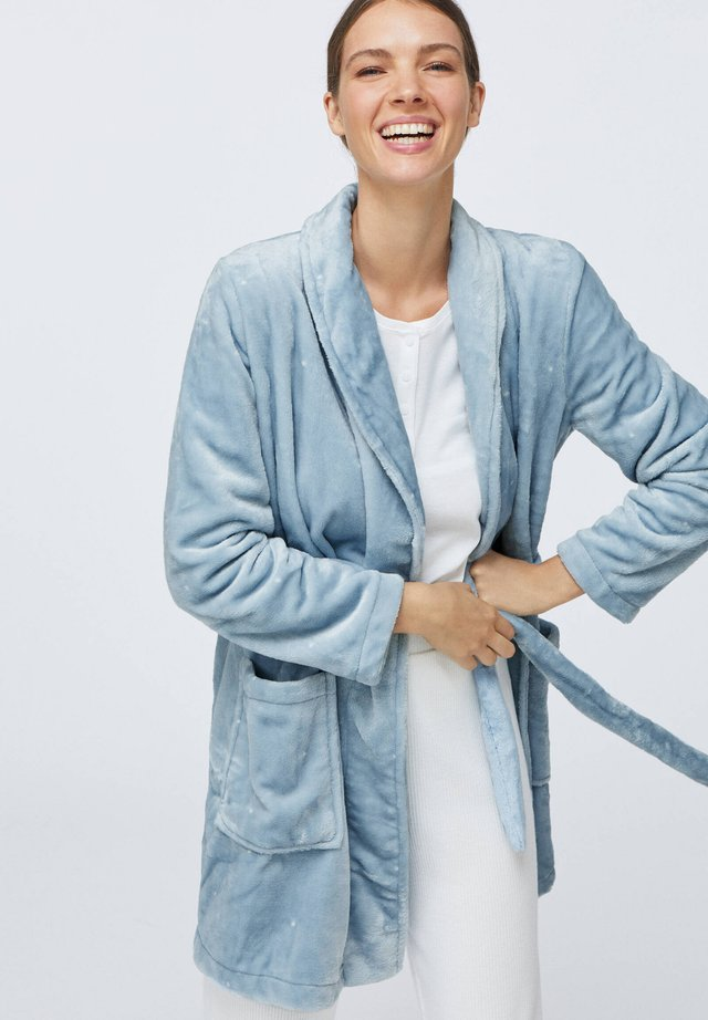 SOFT BLUE WITH POLKA DOTS - Dressing gown - light blue