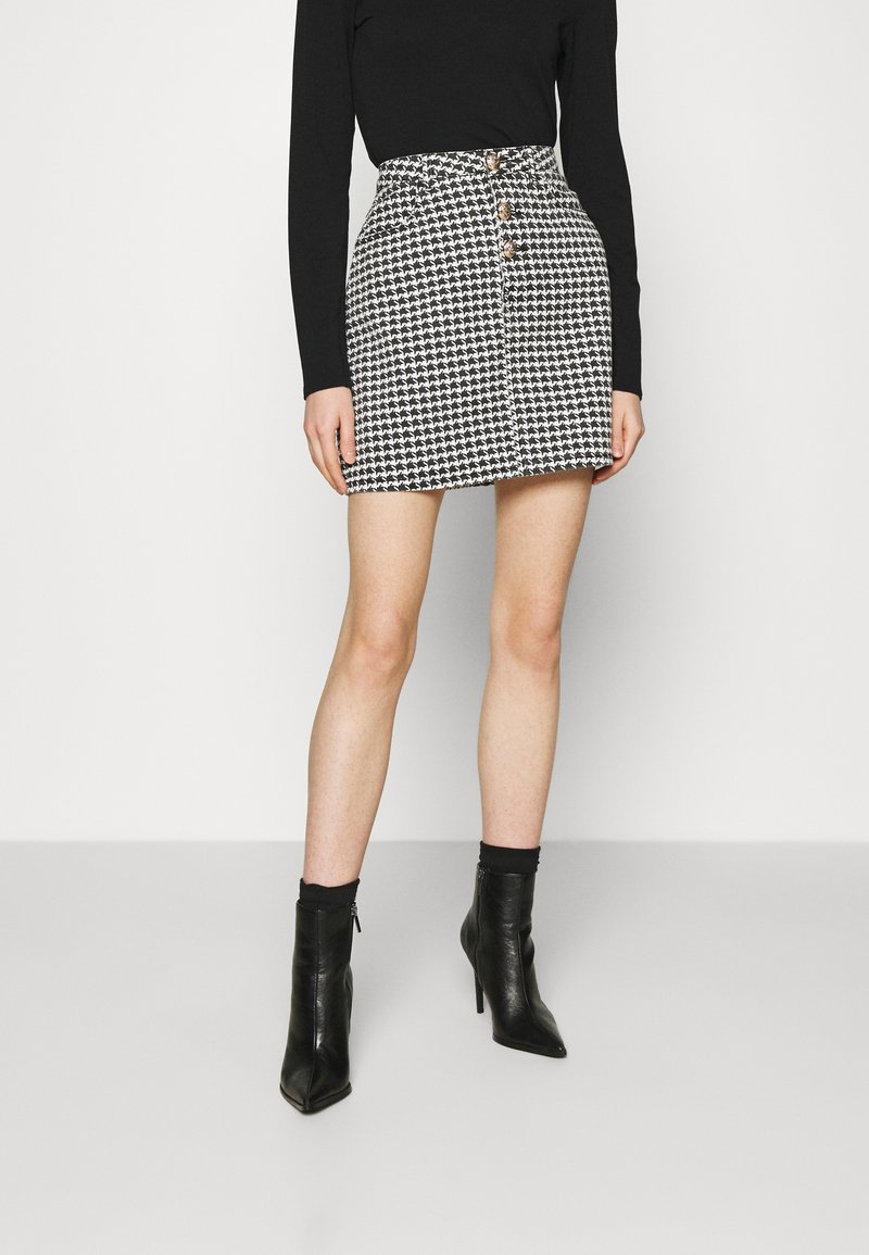 Missguided - HOUNDSTOOTH SKIRT - Miniskjørt - black