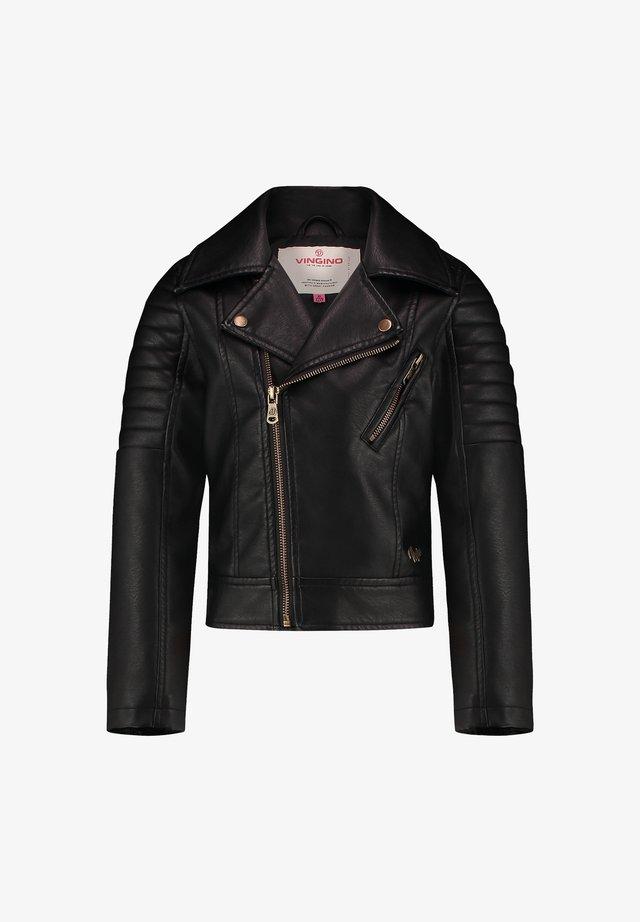 TICKY - Leather jacket - deep black