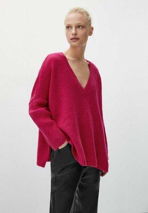 MIT V-AUSSCHNITT - Stickad tröja - neon pink