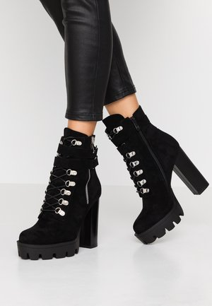 LONDON - High heeled ankle boots - black