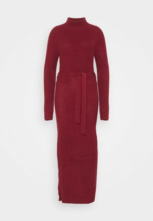 HIGH NECK BELTED MAXI DRESS - Jumper dress - burgandy