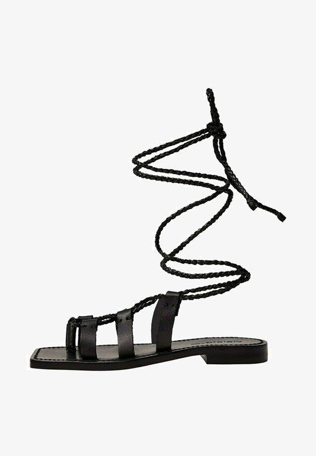 MIT SCHNÜRBÄNDERN - Sandalen - schwarz