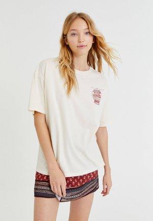 Print T-shirt - mottled beige