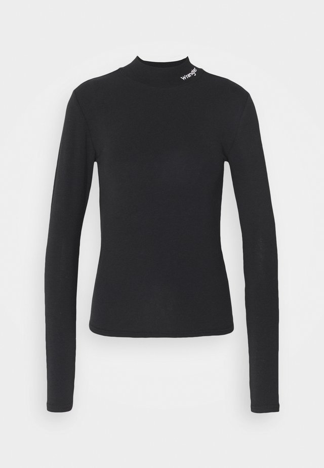 HIGH NECK BABY TEE - Long sleeved top - black
