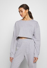 Missguided - ZIP FRONT CROPPED  SLIM LINE SET - Tracksuit - grey - 2