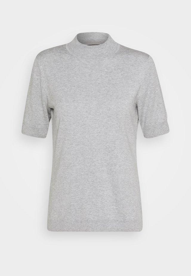 MOCK NECK - T-shirt med print - soft light grey melange
