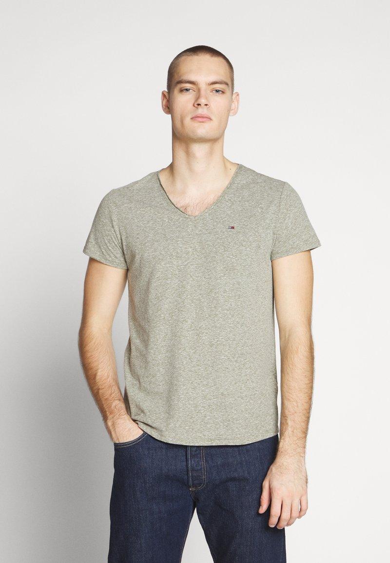 Tommy Jeans - VNECK TEE - T-shirt basique - uniform olive