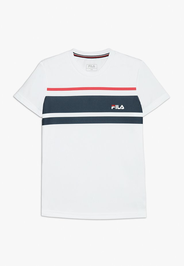 TREY BOYS - T-shirt med print - white/peacoat blue/fila red