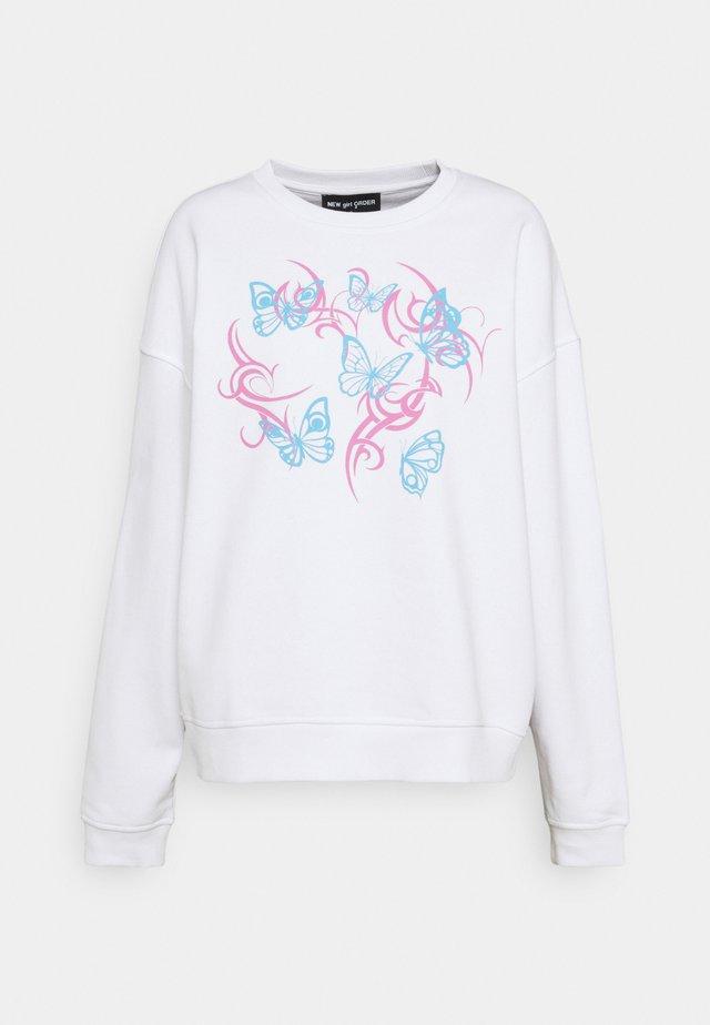 FLURO BUTTERFLY - Sweatshirt - white