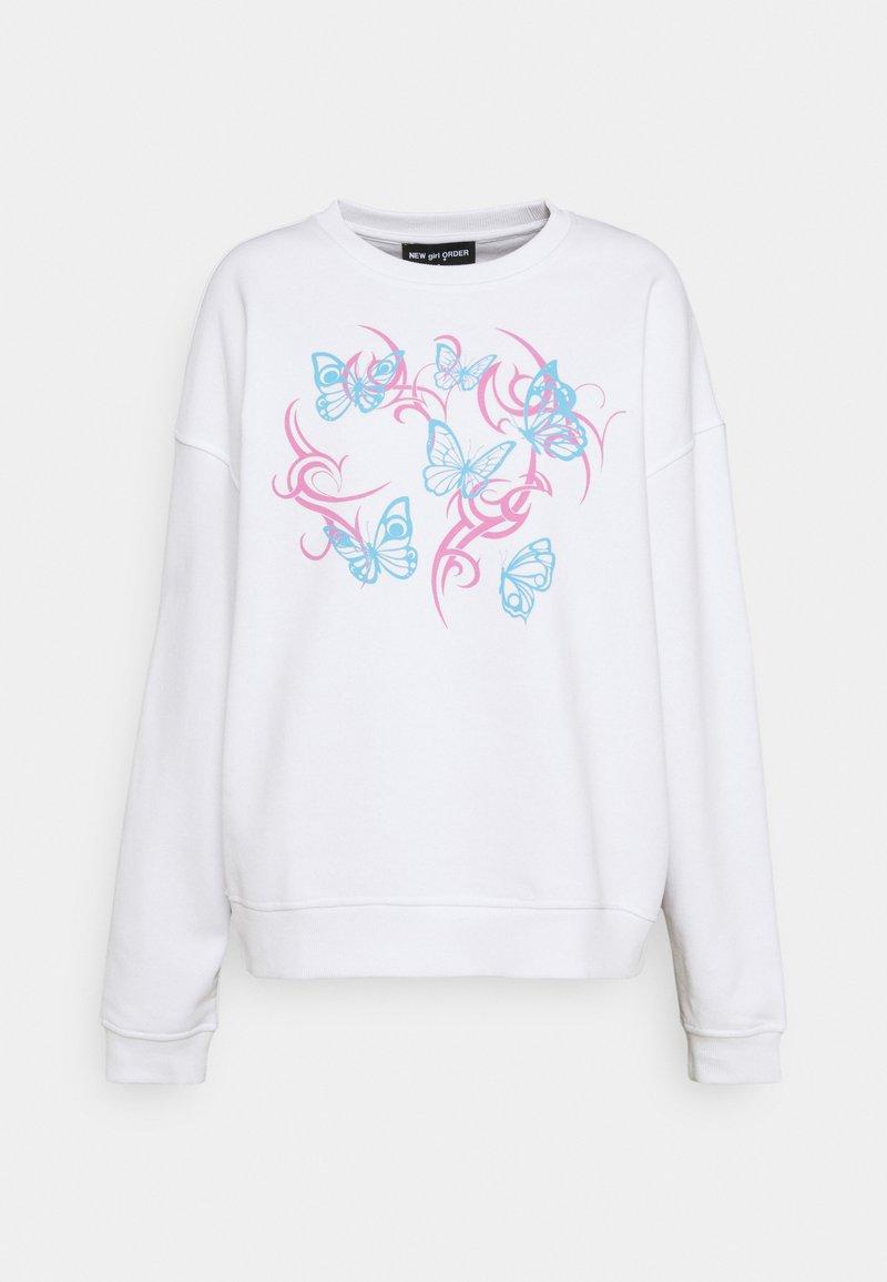 NEW girl ORDER - FLURO BUTTERFLY - Sweatshirt - white