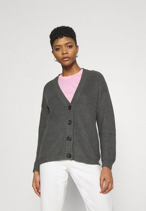 LONG CARDIGAN - Cardigan - mottled dark grey