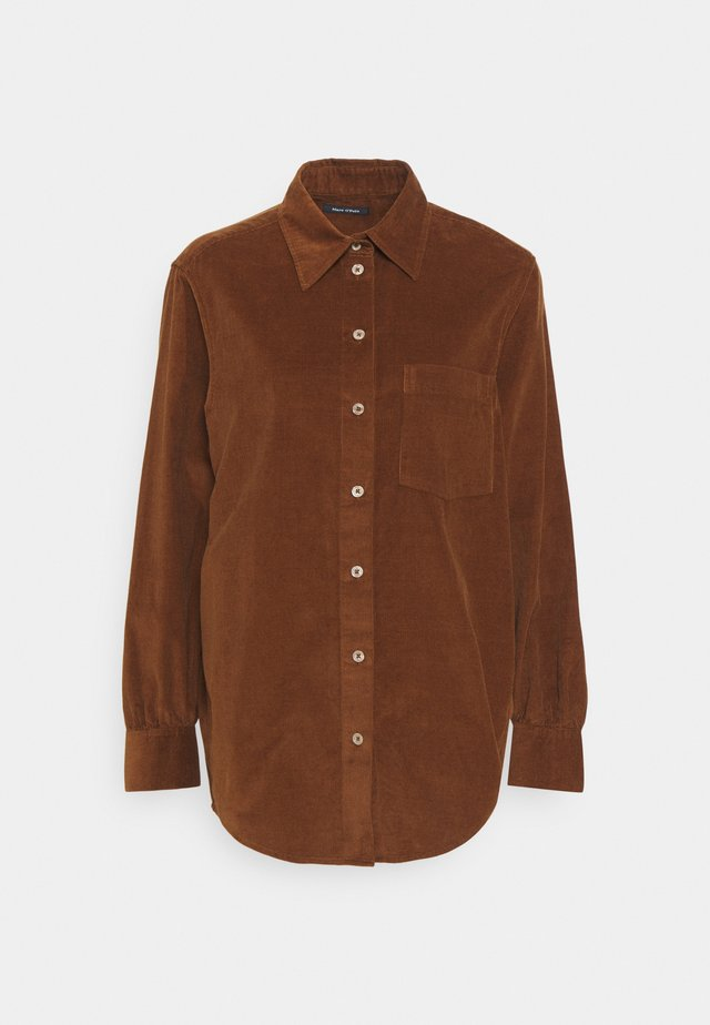 Button-down blouse - toffee brown