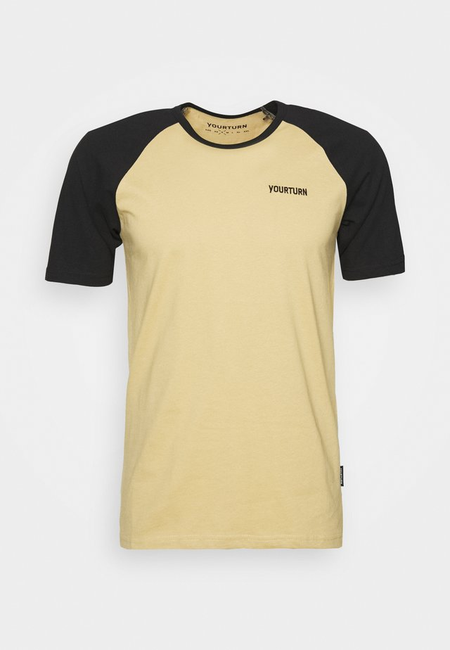 T-shirt med print - tan