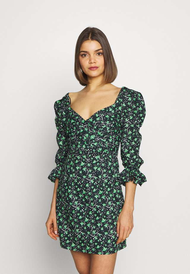 PRINTED PLEATED BODY MINI DRESS - Robe d'été - multi