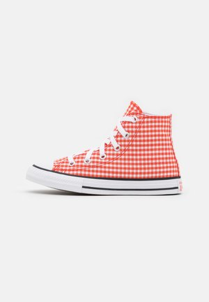 CHUCK TAYLOR ALL STAR GINGHAM UNISEX - Korkeavartiset tennarit - bright poppy/white/black