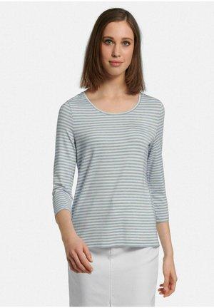 MIT RUNDHALS - Long sleeved top - eisblau-melange/ecru
