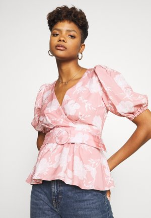 BELTED WRAP BLOUSE - Blouse - coral linear spray