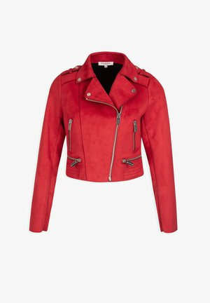 SHORT STRAIGHT NOTCHED COLLAR - Faux leather jacket - red