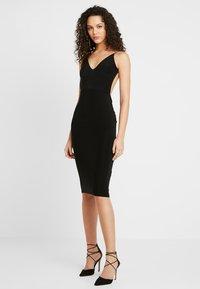 Club L London - RUCHED MIDI DRESS - Shift dress - black - 1
