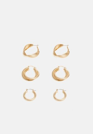 PCKAMILLA EARRINGS 3 PACK - Øreringe - gold-coloured
