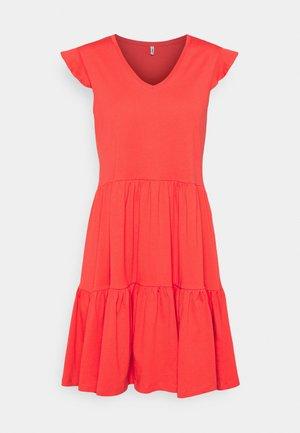 ONLMAY LIFE CAP FRILL DRESS - Jersey dress - cayenne
