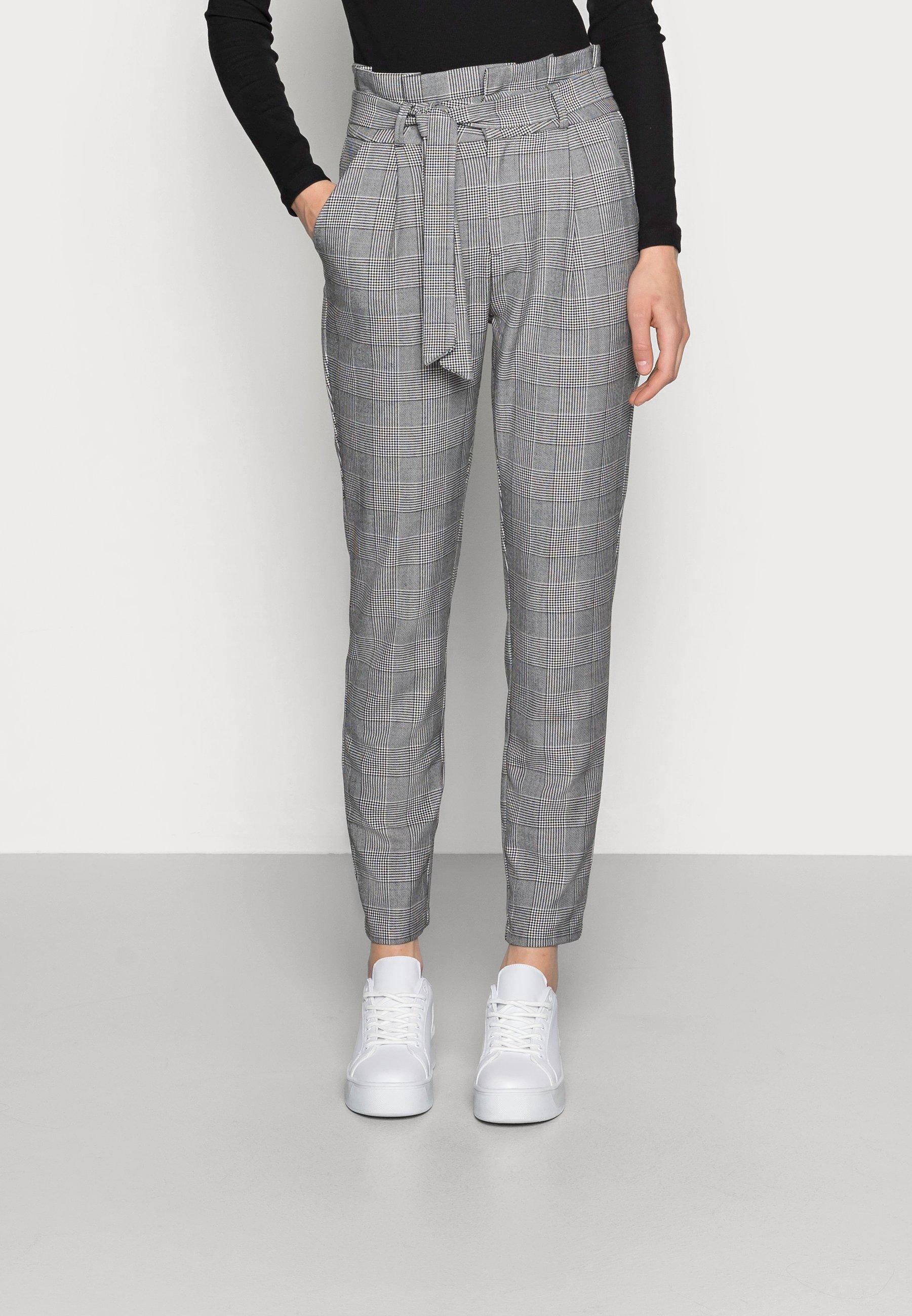 Femme VMEVA PAPERBAG CHECK PANT - Pantalon classique