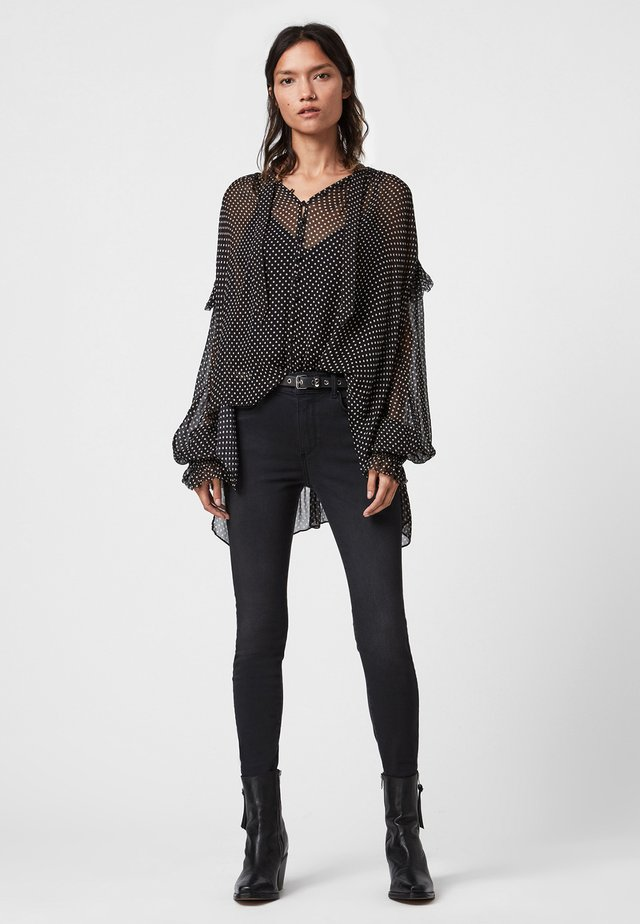 LARA - Button-down blouse - black