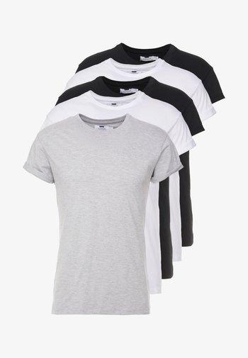 5 PACK - T-paita - white/black/grey