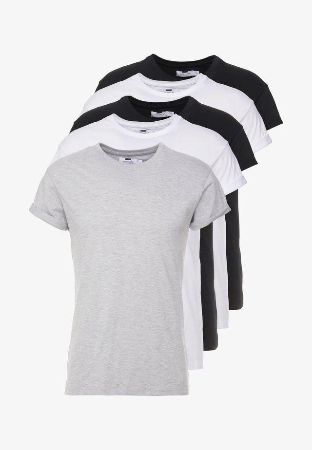 5 PACK - T-shirt basic - white/black/grey